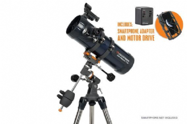 "Celestron AstroMaster 114EQ Newtonian Telescope with Motor Drive and 1.25"" Smart Phone Adapter"